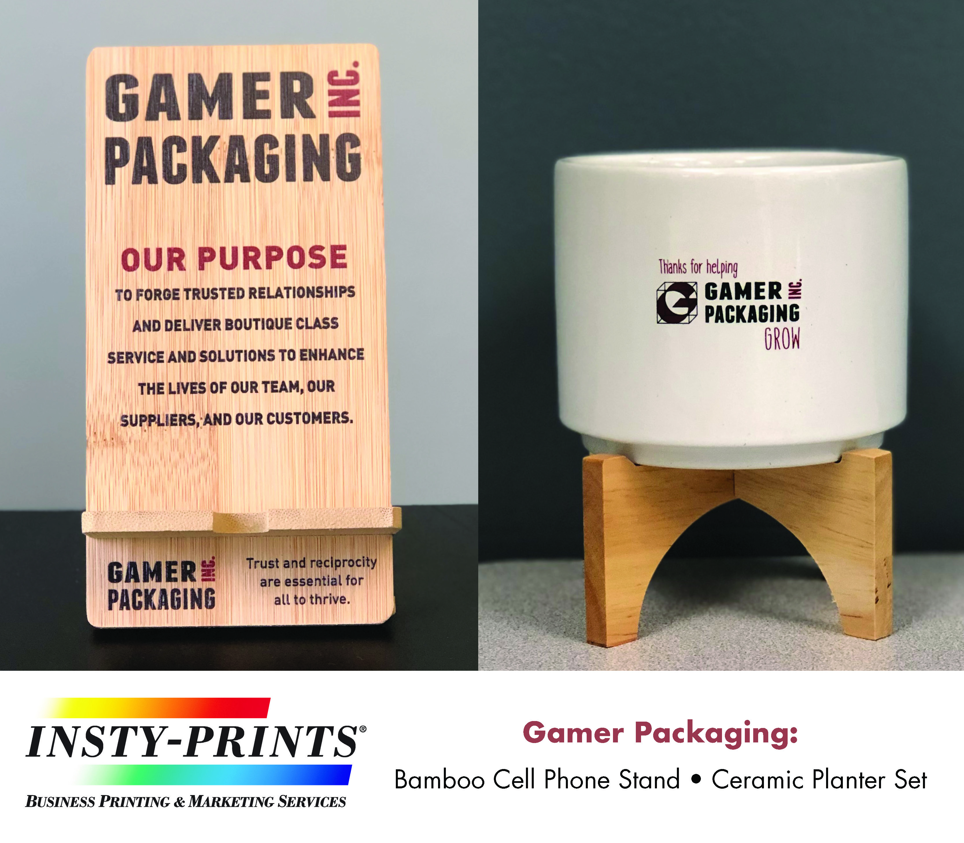 Cell phone holder and desktop plant pot with stand, each with the Gamer Packaging Inc Branding.