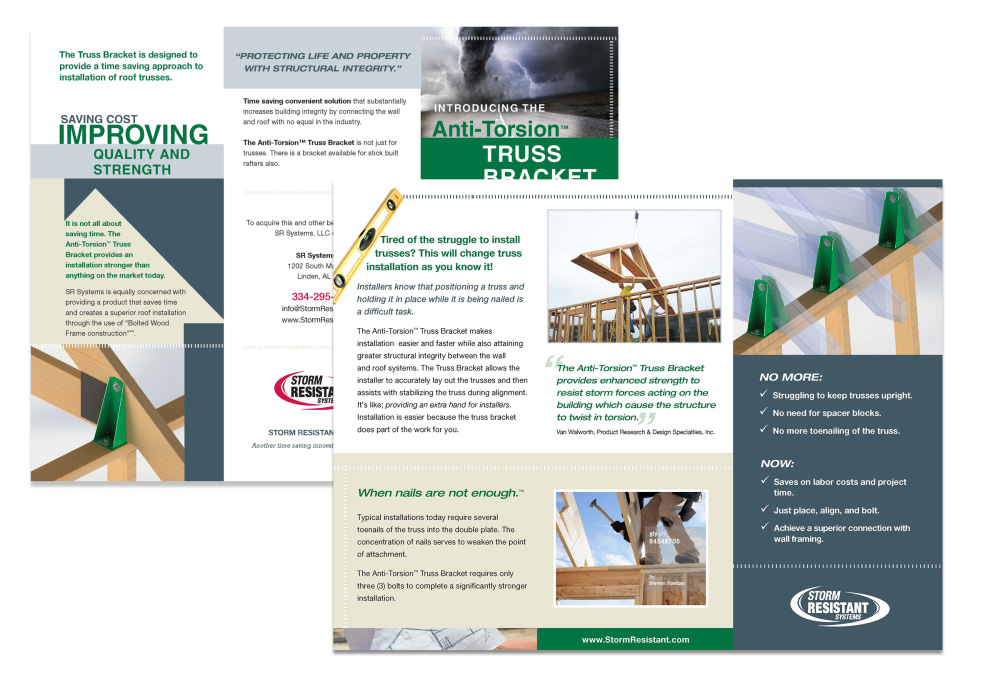 Trifold created to promote a product.